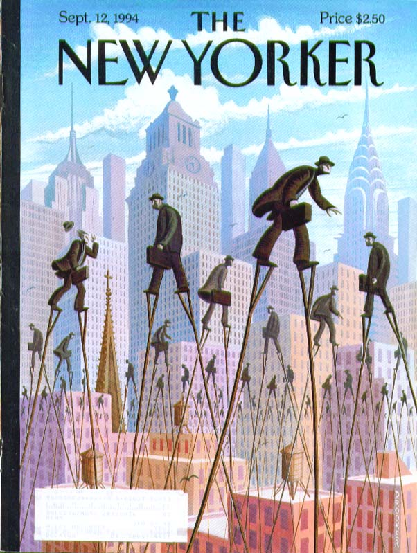 New Yorker cover Drooker execs on stilts 9/12 1994