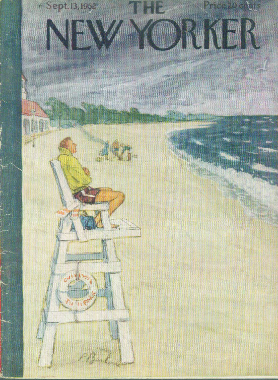 New Yorker cover Barlow chilly lifeguard 9/13 1952