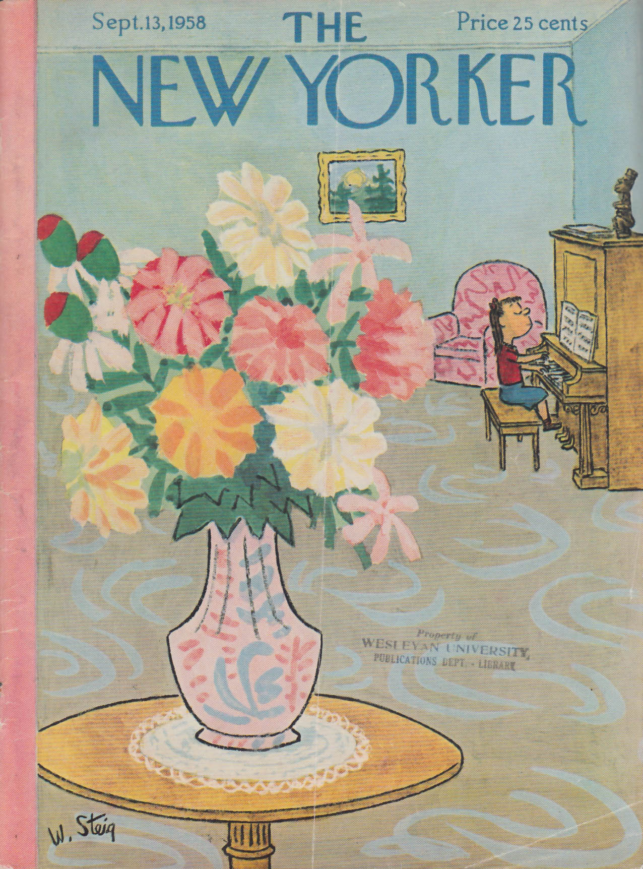 New Yorker cover Steig girl at piano bouquet 9/13 1958