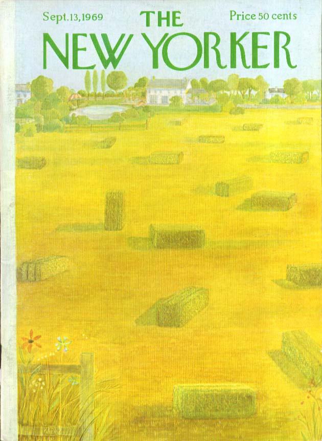 New Yorker cover Karasz haybales in field 9/13 1969