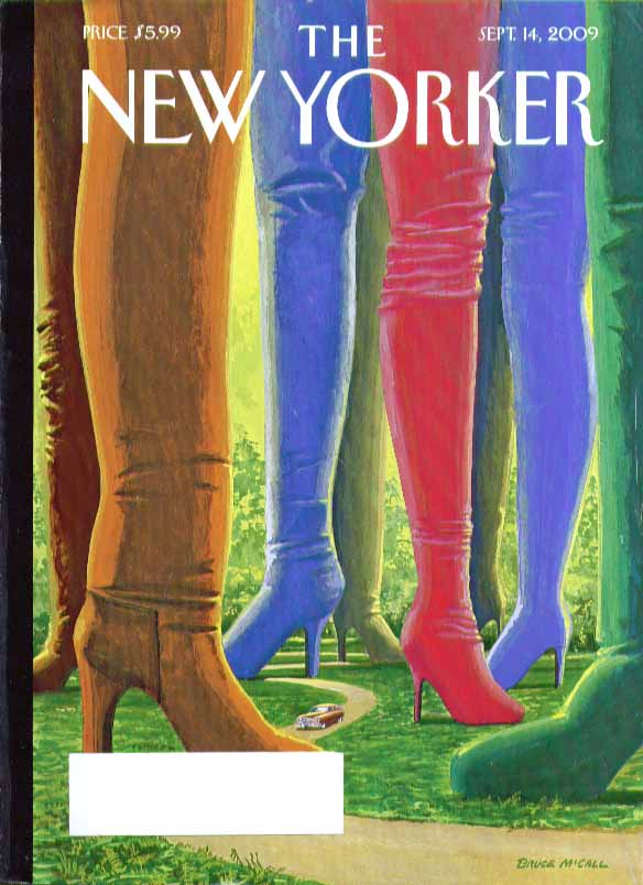 New Yorker cover Bruce McCall 1950 Nash thru forest of colored boots 9/14 2009