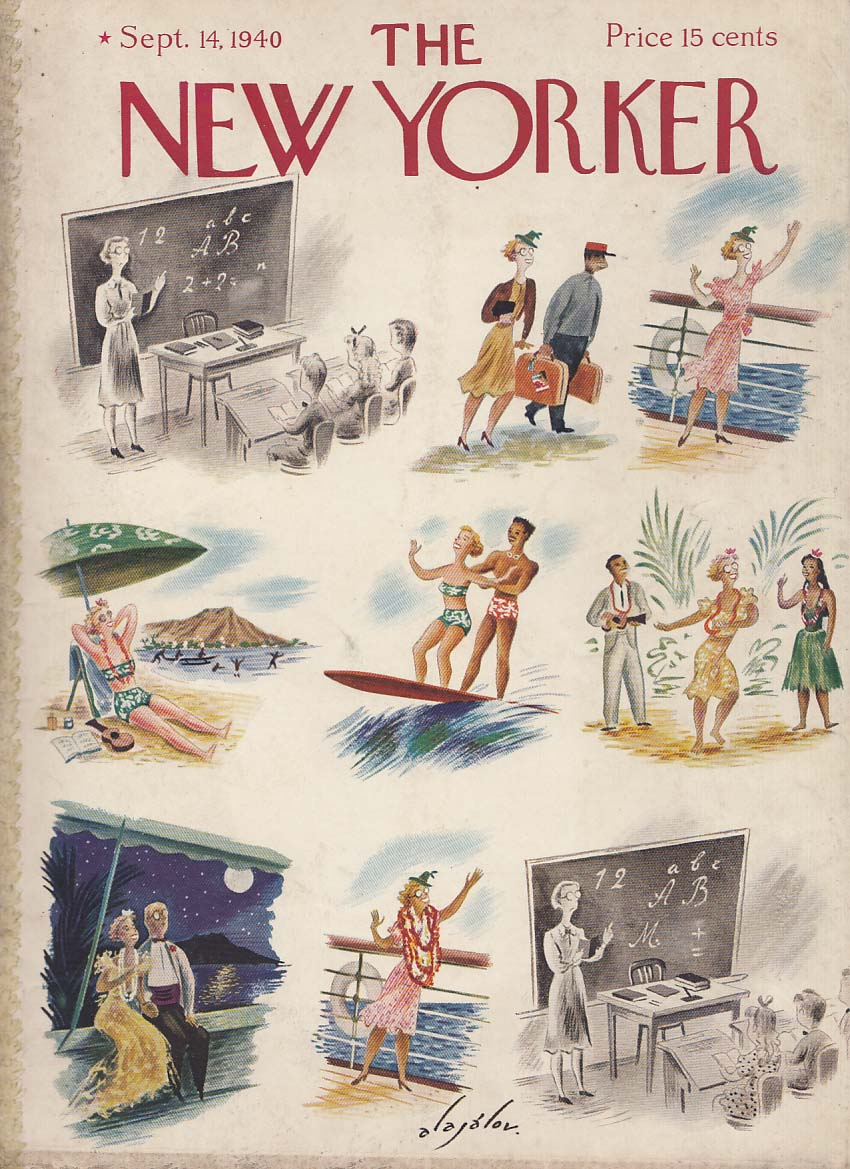 New Yorker cover Alajalov teacher Hawaiian vacation dream 9/14 1940