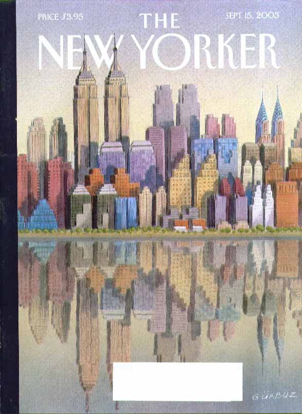 Image for New Yorker cover Gurbuz Dogan Empire State & Chrysler Bldg twin towers 9/15 2003
