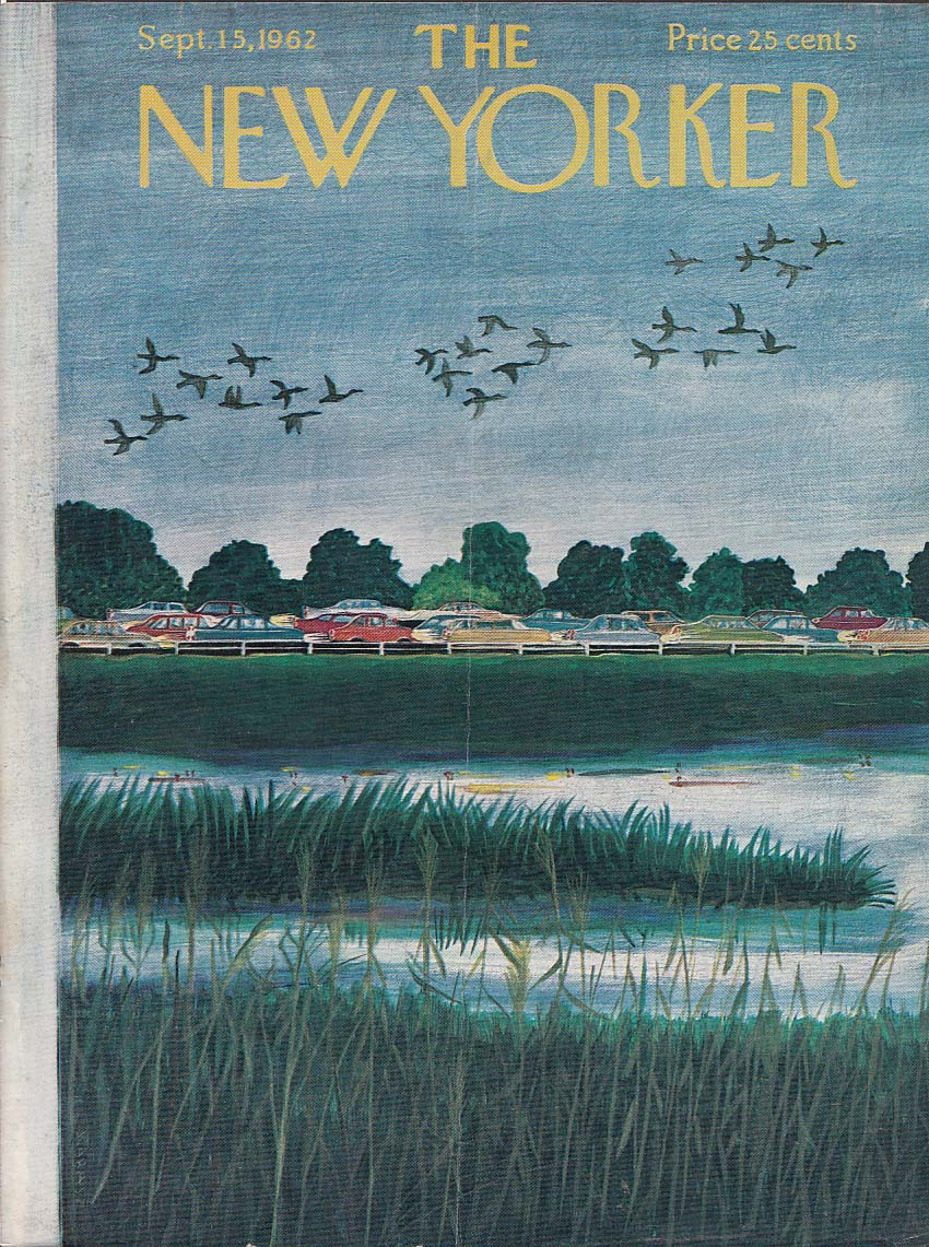 New Yorker cover Karasz geese over traffic 9/15 1962