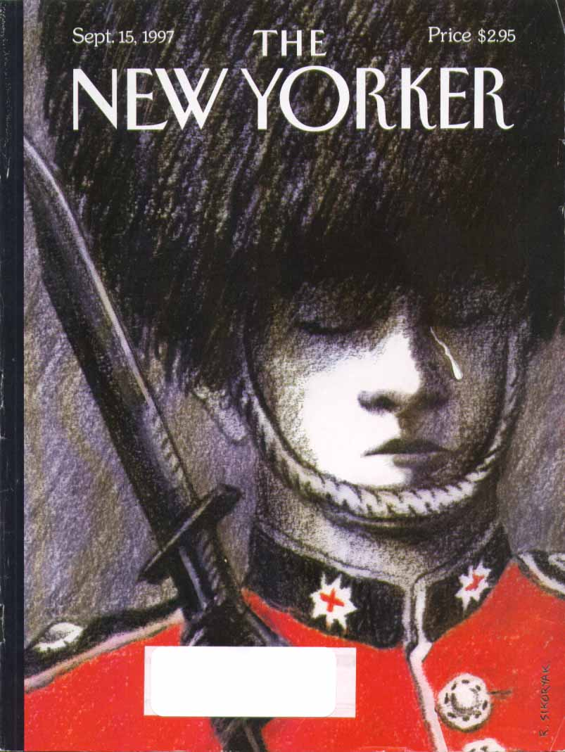 New Yorker cover Sikoryak guard weeps for Princess Diana 9/15 1997