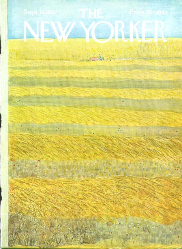 New Yorker cover Karasz farmer in hayfield 9/16 1967
