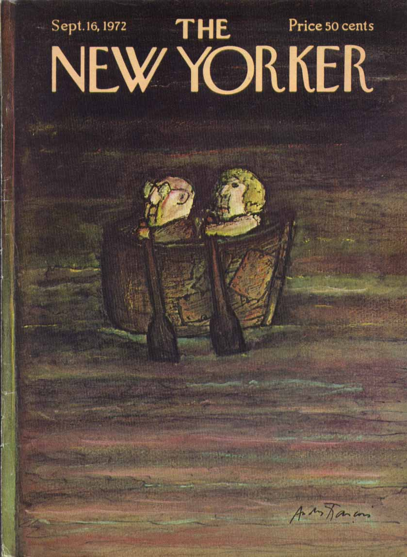 New Yorker cover Francois old couple rowboat 9/16 1972