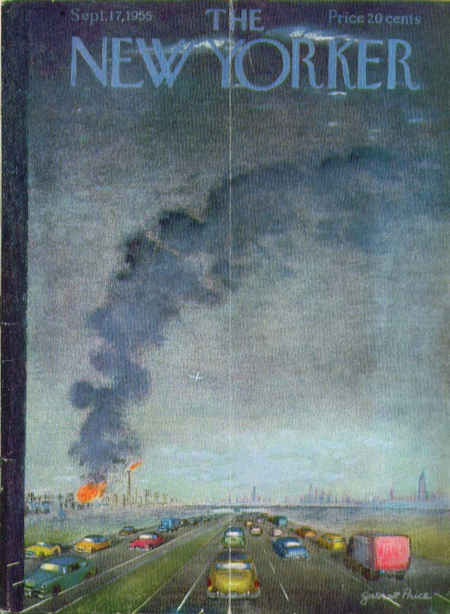 New Yorker cover Price fire seen from freeway 9/17 1955