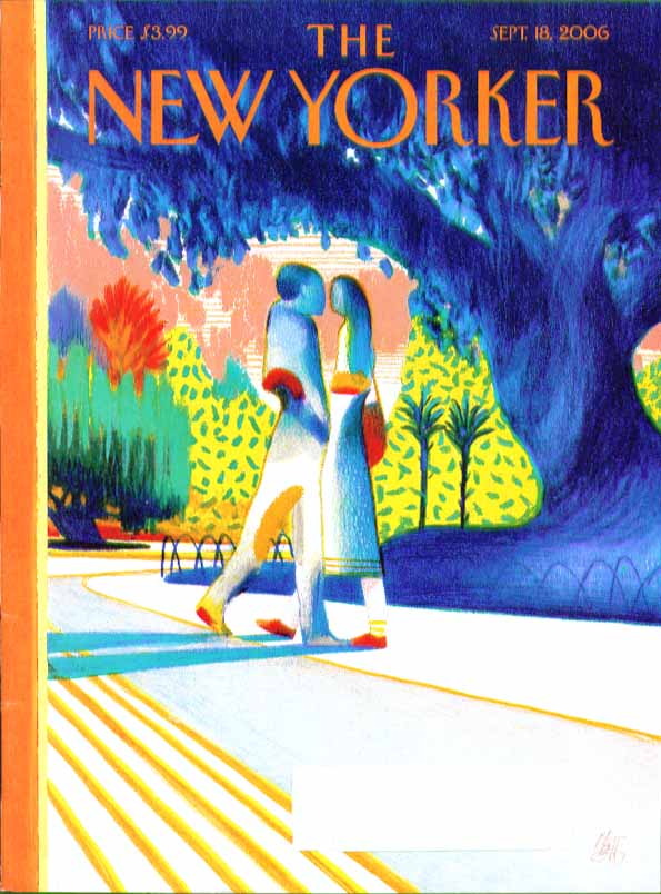 Image for New Yorker cover Mattotti primary color couple pass in park 9/18 2006