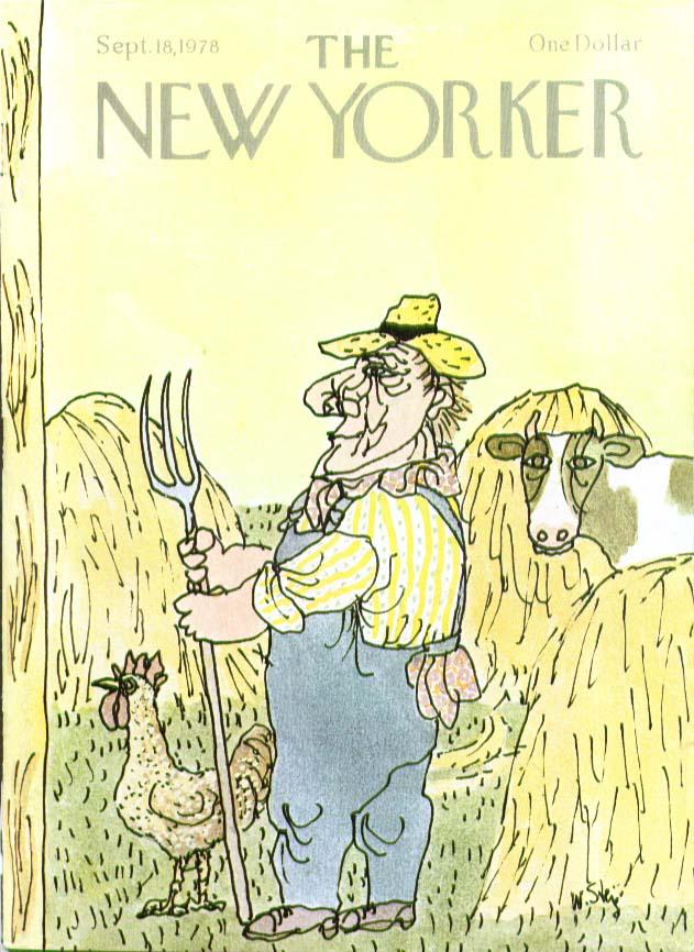 New Yorker cover Steig farmer cow chicken hay 9/18 1978