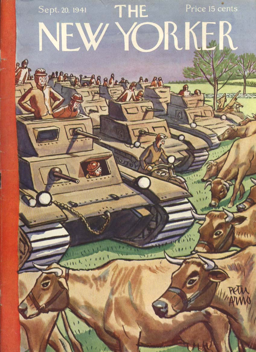 New Yorker cover Arno cows obstruct tanks 9/20 1941