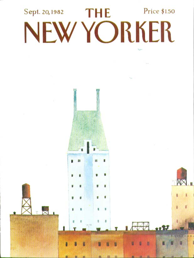 Image for New Yorker cover Quezada rooftop skyline 9/20 1982