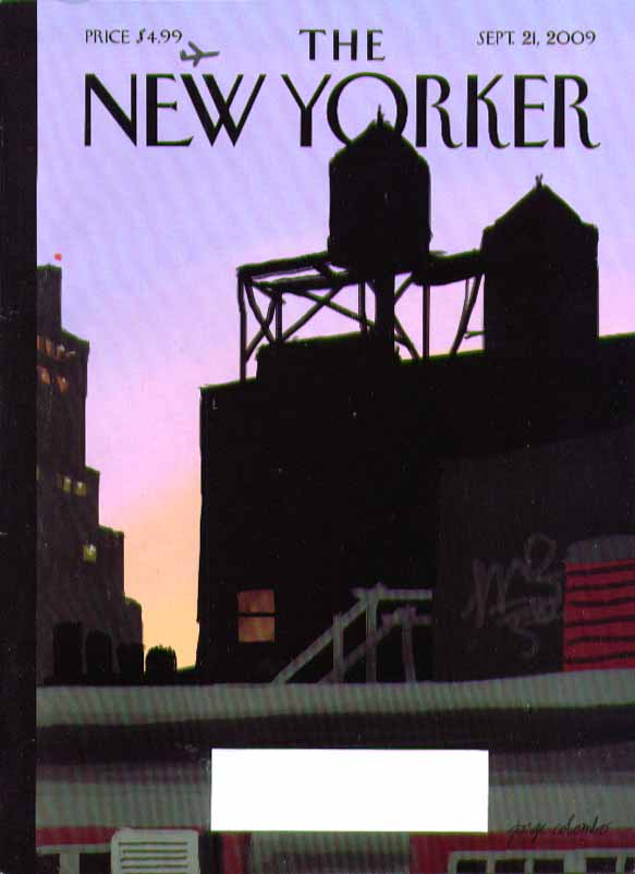 Image for New Yorker cover Jorge Colombo rooftop water tower silhouettes 9/21 2009
