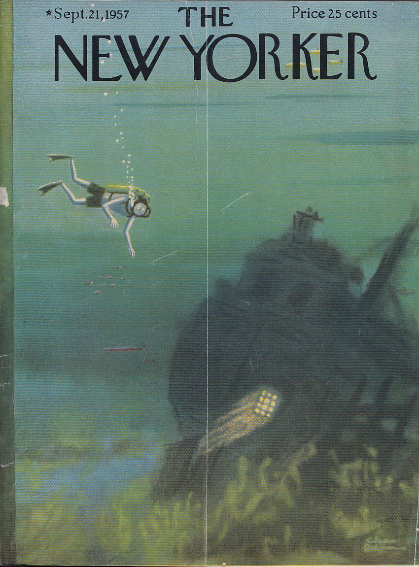 New Yorker cover Addams diver haunted ship 9/21 1957