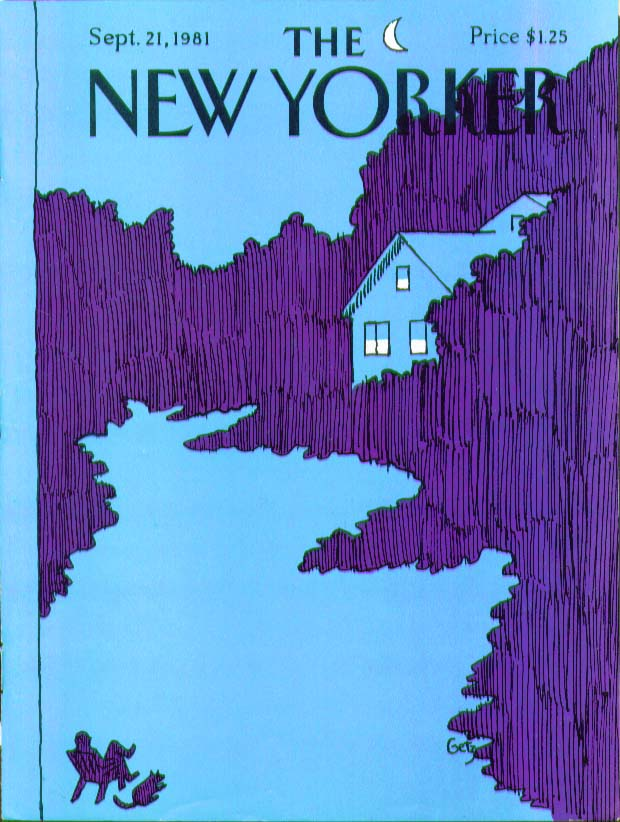 Image for New Yorker cover Getz house in purple woods 9/21 1981
