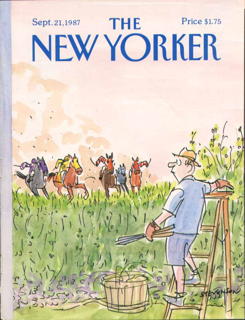 New Yorker cover Stevenson oncoming horses 9/21 1987