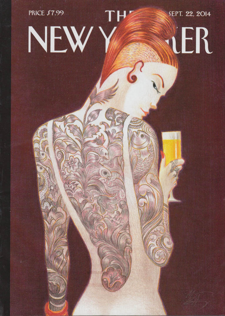 New Yorker cover 9/22 2014 Mattiotti: backless dress shows full body tattoo