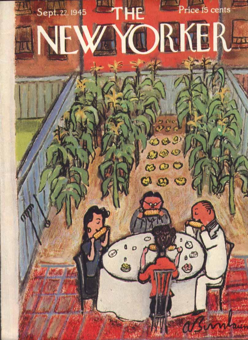 New Yorker cover Birnbaum backyard corn rows 9/22 1945