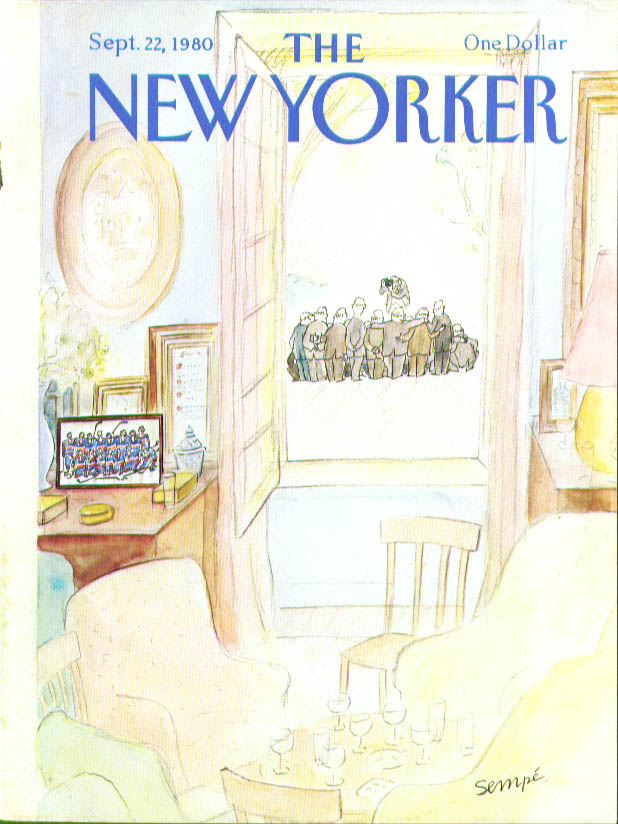 Image for New Yorker cover Sempe hockey team reuinion  9/22 1980