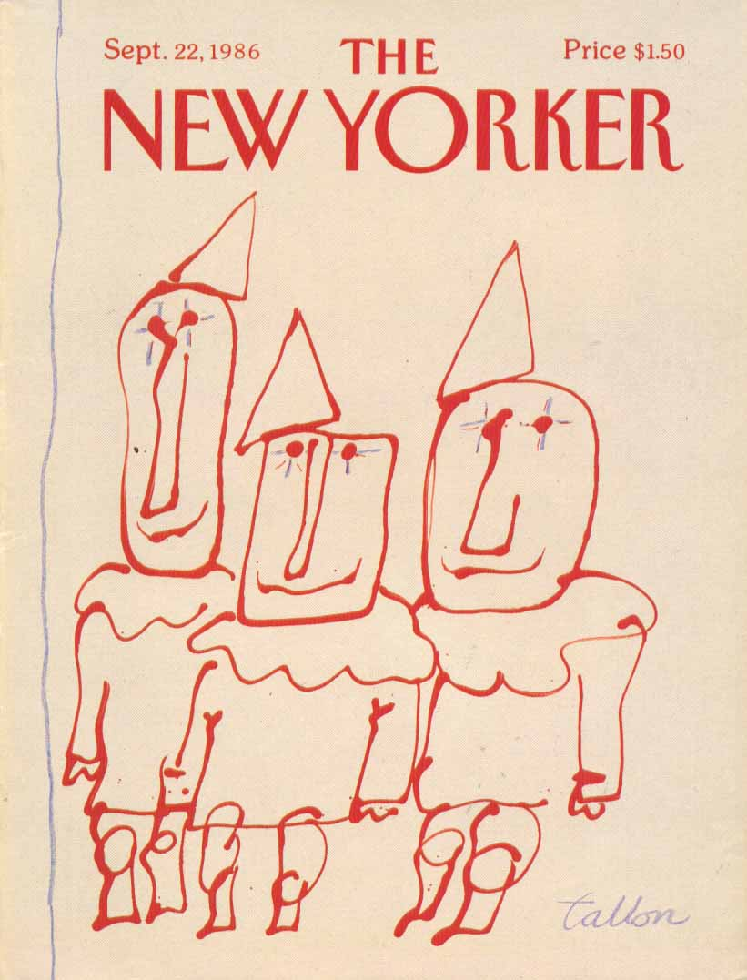 New Yorker cover Tallon three red clowns 9/22 1986