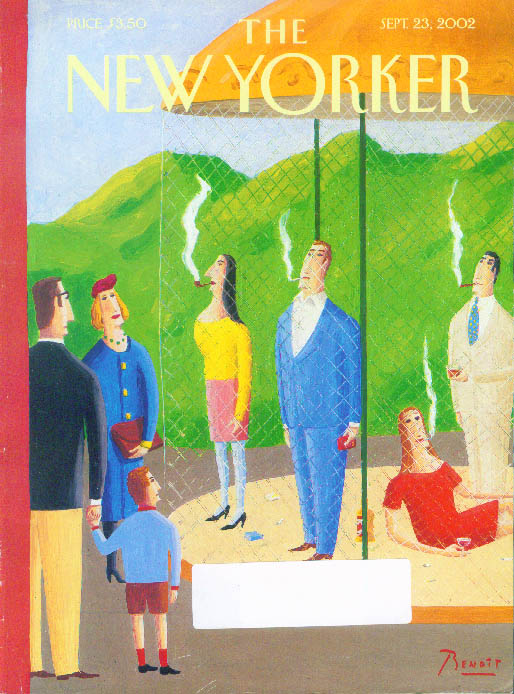 New Yorker cover Benoit smokers sequestered in zoo cage as exhibits 9/23 2002