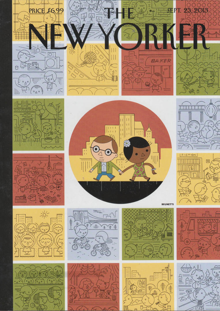 New Yorker cover 9/23 2013 Brunetti couple in circle among all other squares