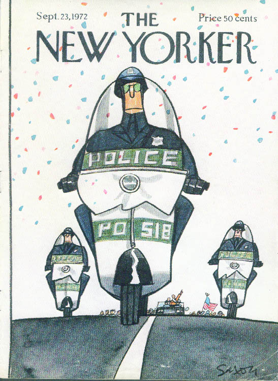 New Yorker cover Saxon police escort 9/23 1972