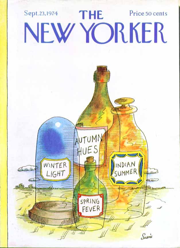 Image for New Yorker cover Suares seasonal phrases 9/23 1974