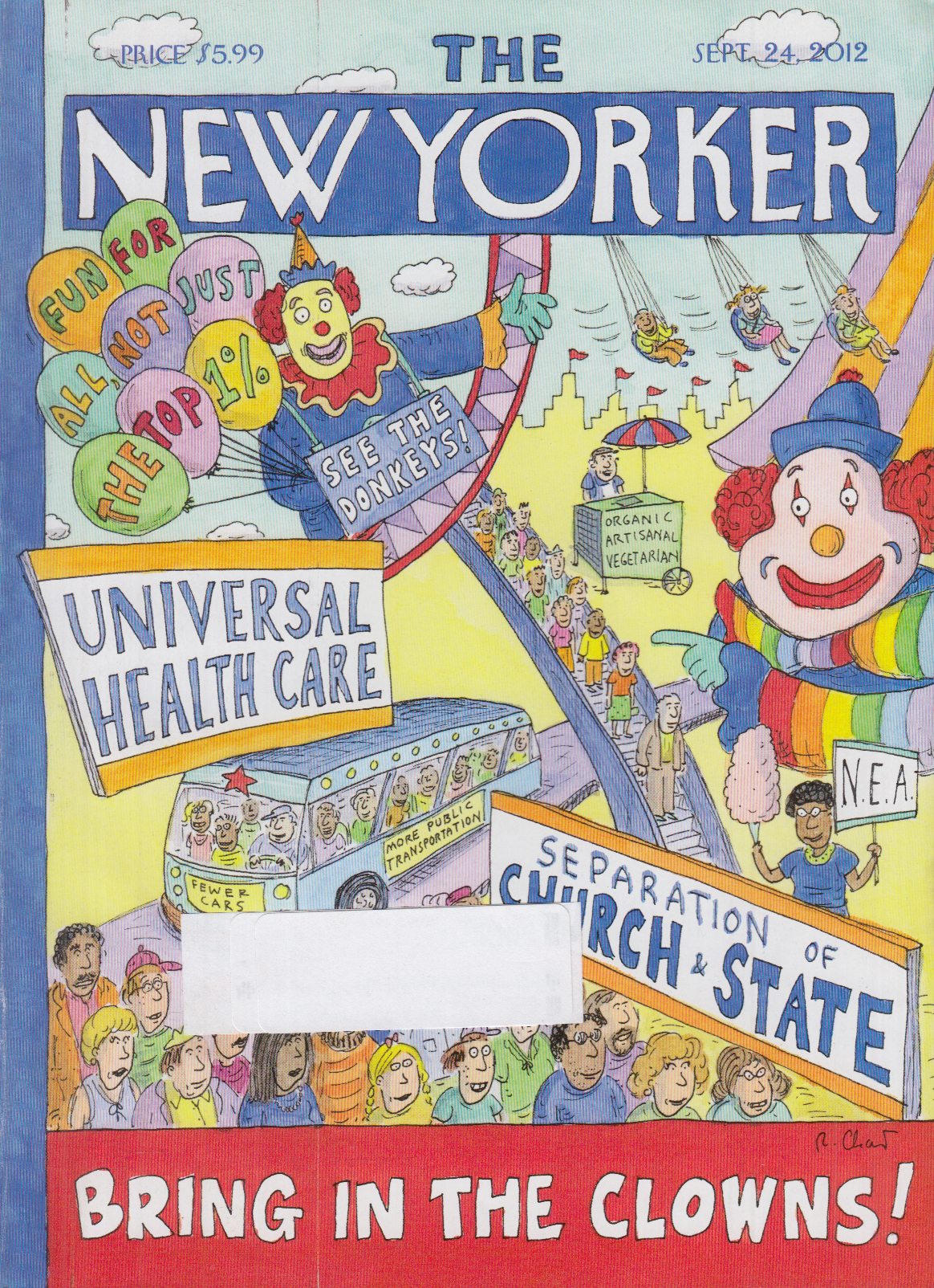 New Yorker cover Chast 9/24 2012 Democratic causes Bring the Clowns circus