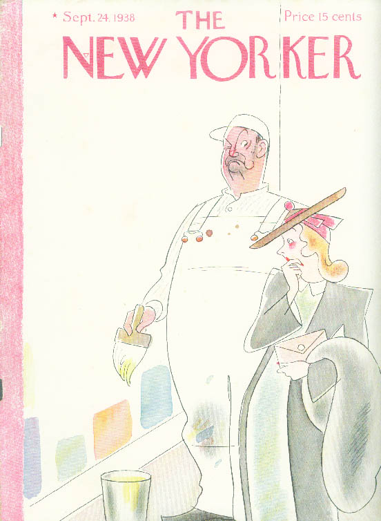 New Yorker cover Rea Irvin women choosing paint color; painter annoyed 9/24 1938
