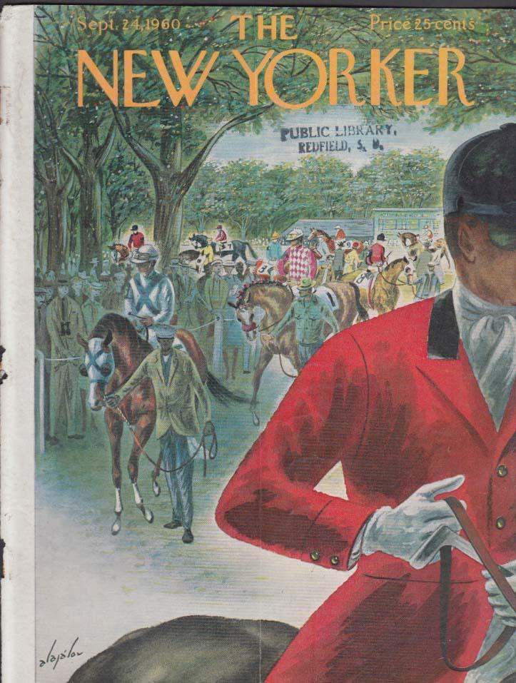New Yorker cover Alajalov racehorses paddock 9/24 1960