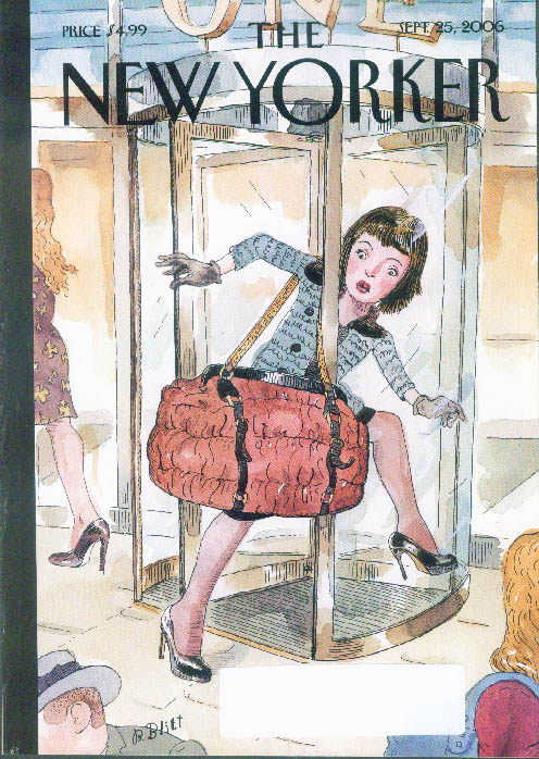 New Yorker cover Barry Blitt huge handbag snags gal in revolving door 9/25 2006