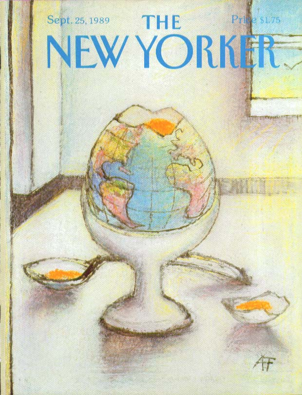 Image for New Yorker cover Francois globe boiled egg 9/25 1989