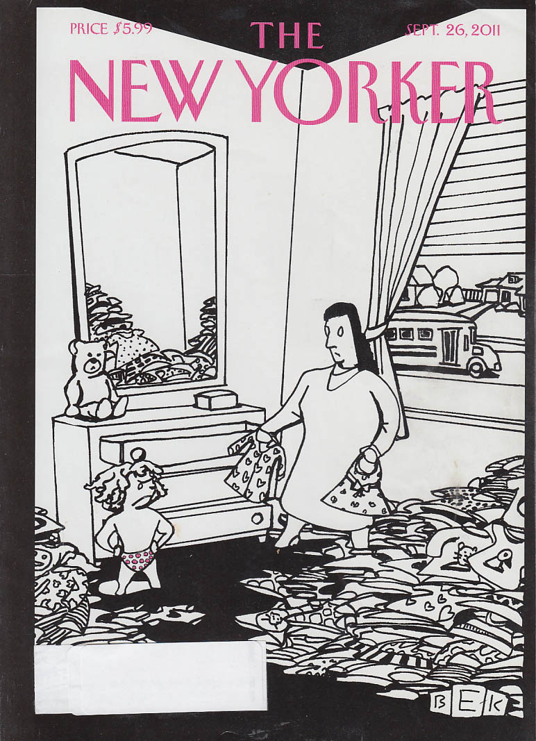 New Yorker cover 9/26 2011 Kaplan little girl refuses all school outfits