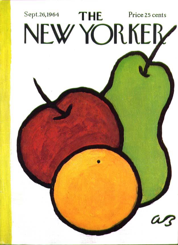 New Yorker cover Birnbaum orange, apple, pear 9/26 1964