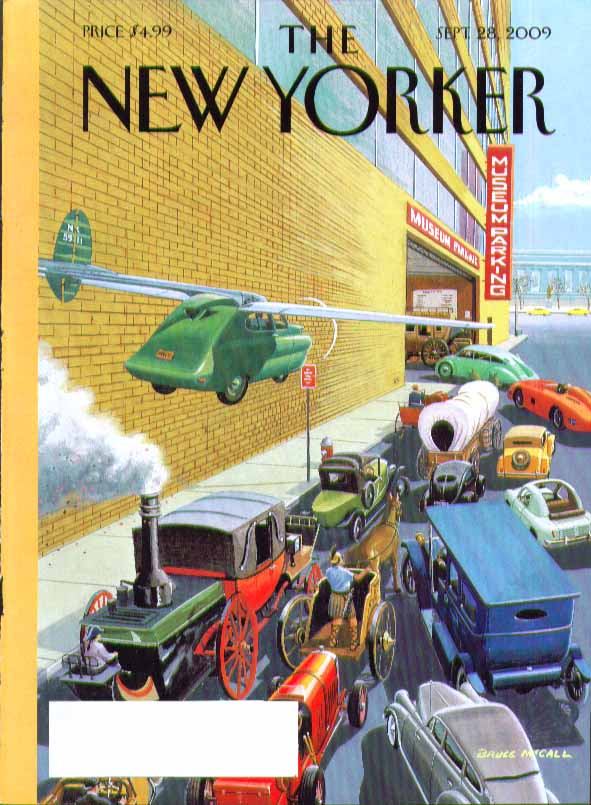 New Yorker cover Bruce McCall antique vehicles queue at museum garage 9/28 2009