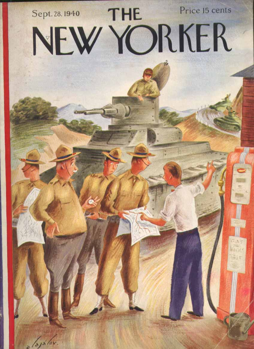 New Yorker cover Alajalov tank training lost checking map gas station 9/29 1940