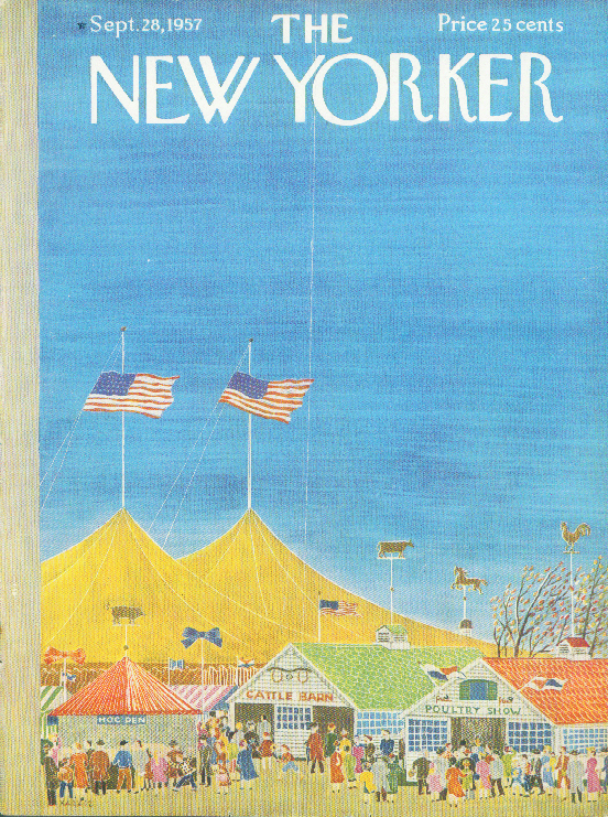 New Yorker cover Karasz country fair tents 9/28 1957
