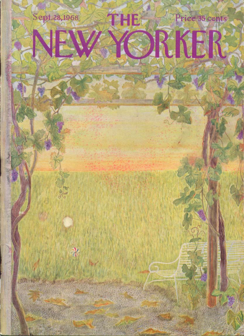 New Yorker cover Karasz grape arbor meadow 9/28 1968