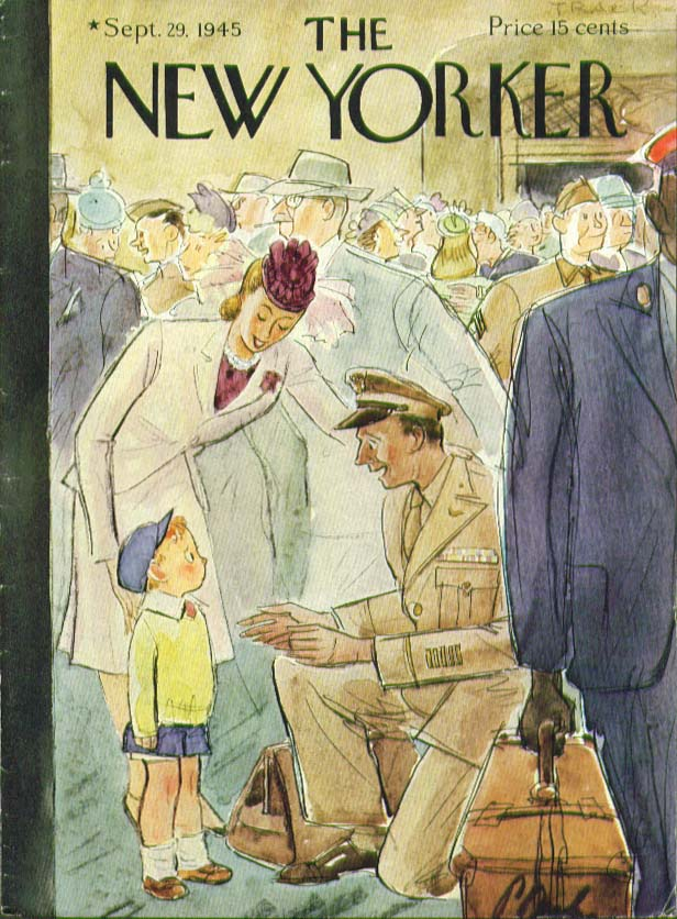 New Yorker cover Barlow boy sees GI dad 9/29 1945
