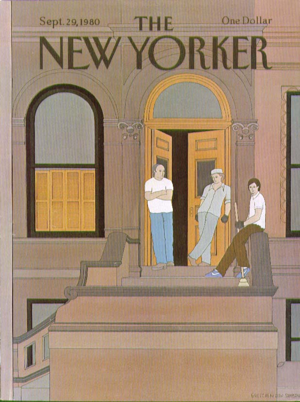 Image for New Yorker cover Simpson Brownstone stoop 9/29 1980