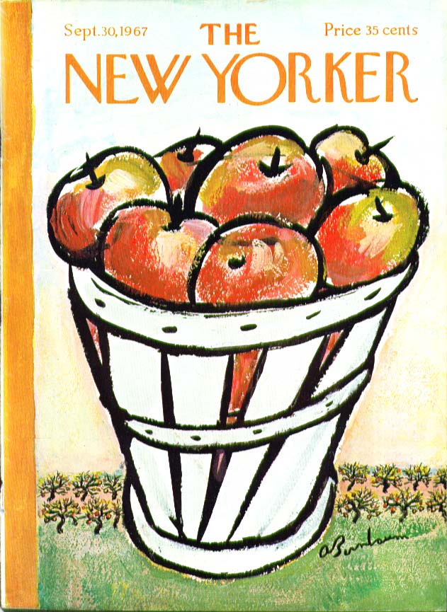 New Yorker cover Birnbaum bushel of apples 9/30 1967