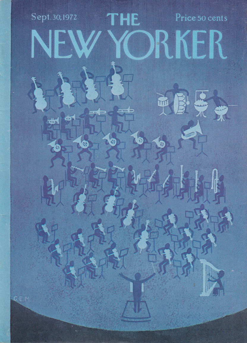 New Yorker cover 9/30 1972 C E Martin symphony orchestra in blue