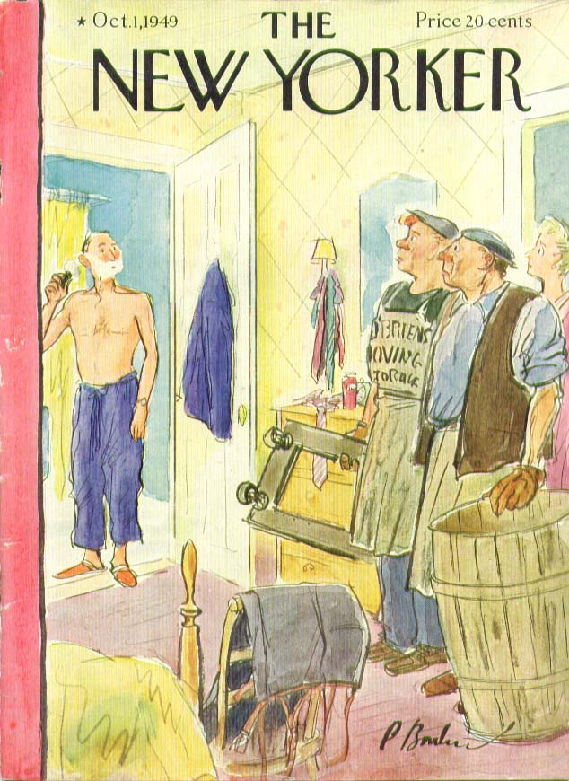 New Yorker cover Barlow movers arrive shaving 10/1 1949