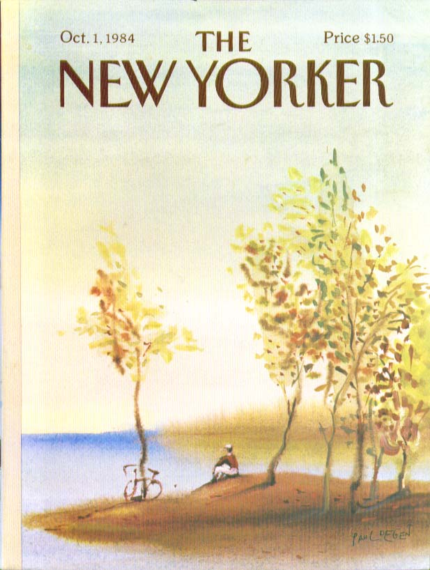 New Yorker cover Degen biker rests at pond 10/1 1984