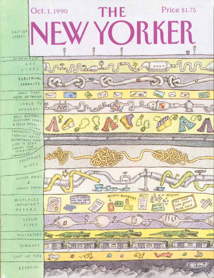 New Yorker cover Chast urban geologic strata 10/1 1990
