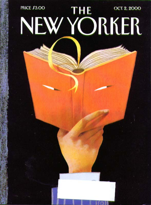 New Yorker cover narrowed eyes on a book cover 10/2 2000