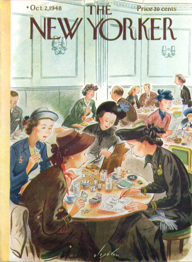 New Yorker cover Alajalov women restaurant 10/2 1948