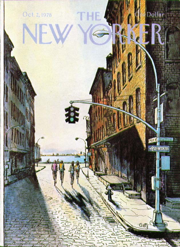 New Yorker cover Getz bicyclists near river 10/2 1978