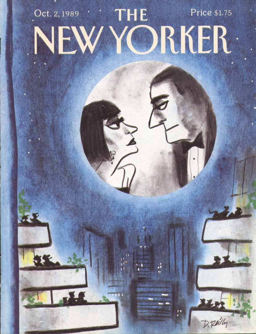 New Yorker cover Reilly couple in the moon 10/2 1989